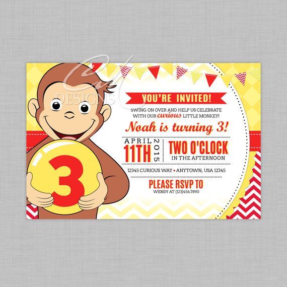 Curious George Birthday Invitation by DesignsbyCassieCM on Etsy