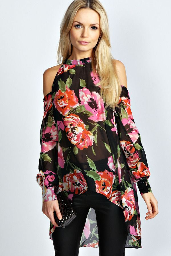 1a6b83f1055a2 Boohoo Sophia High Neck Cut Out Shoulder Floral Blouse on shopstyle ...