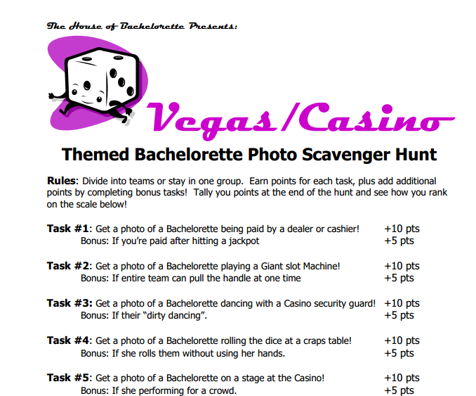 Casino scavenger hunt list bee casino quality 100 count poker chips