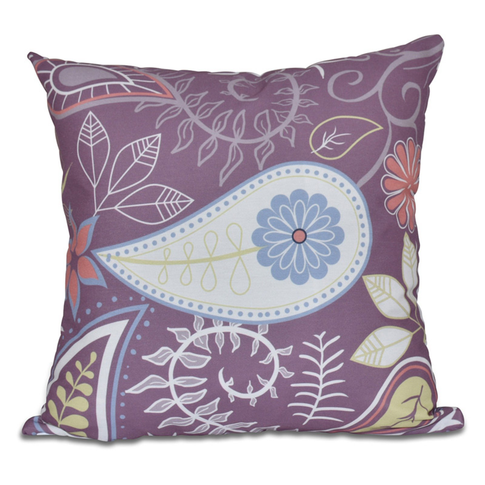 E by Design Botanical Blooms Paisley Floral Print Outdoor Pillow Purple