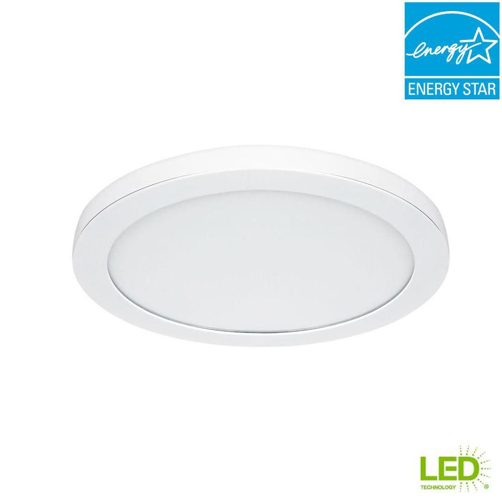 Commercial Electric 15 In White Led Edge Lit Flat Round Panel Flush Mount Light 74048 Hd The Home Dep Flush Mount Lighting Edge Lighting Commercial Electric