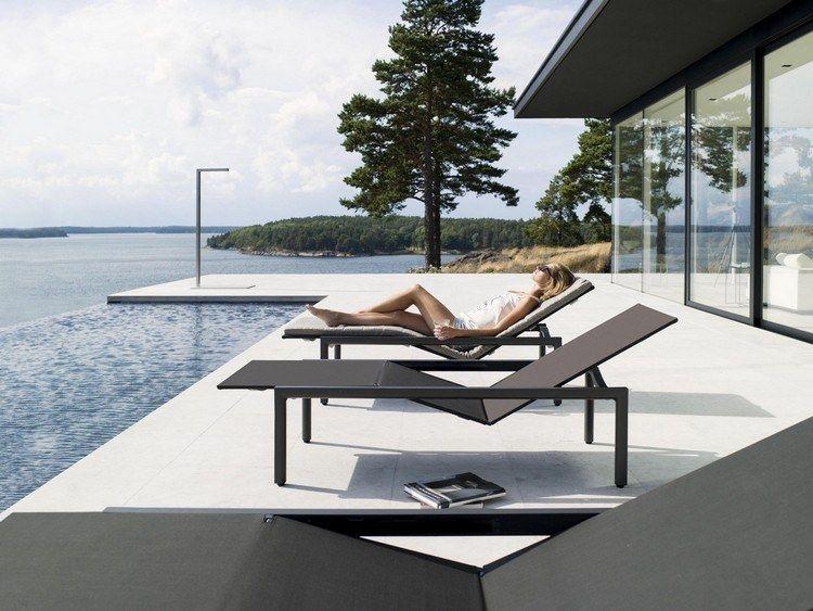 mobilier de jardin haut de gamme en alu noir et piscine à ...