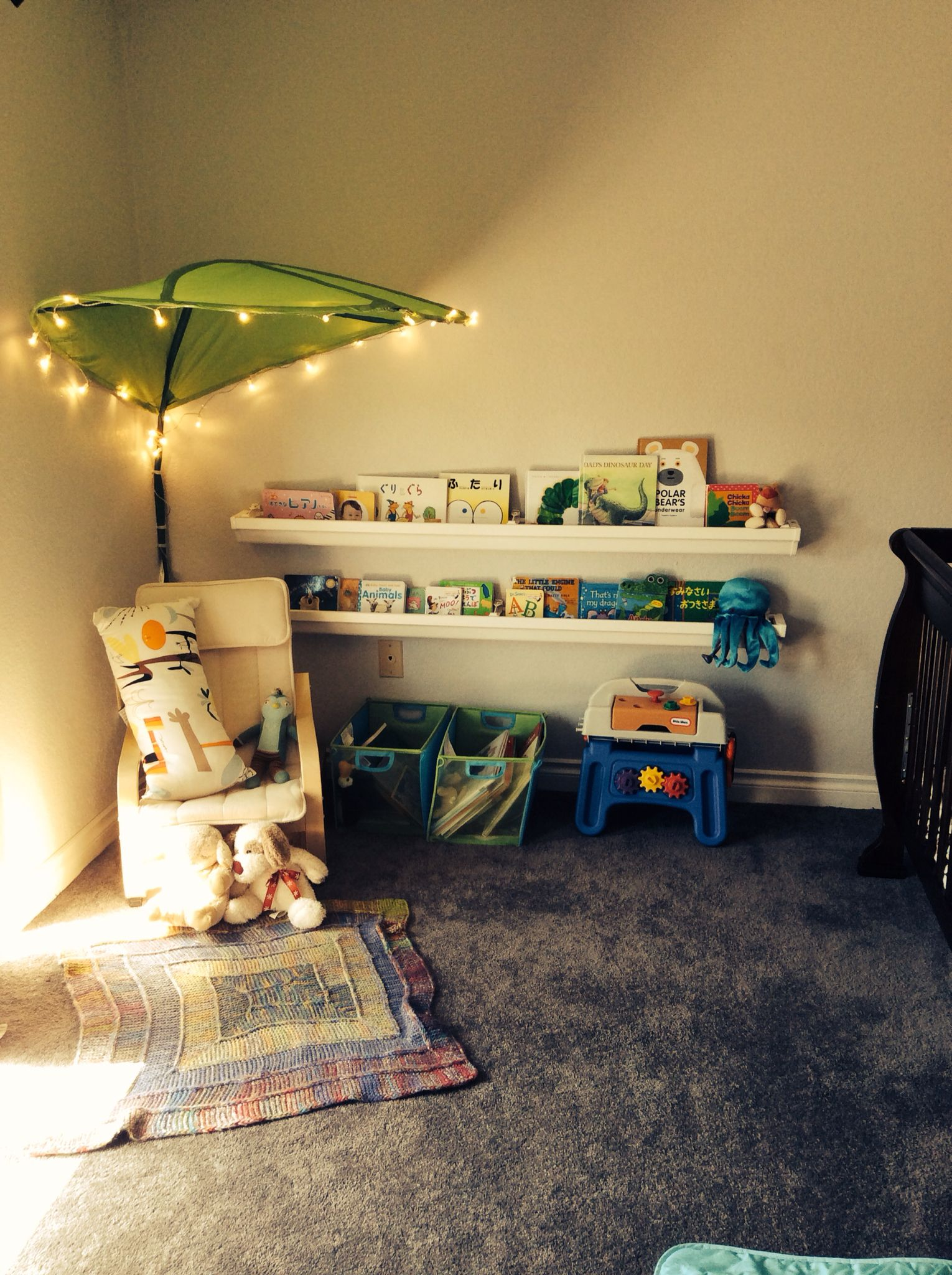 Kids playroom canopy - Rain Gutter Book Shelf Ikea Leaf Canopy Decorated With String Lights Playroom Organizationplayroom Ideasbook