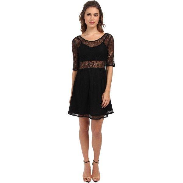 MINKPINK Meet Me In St.Louis Dress Women's Dress, Black ($45) ❤ liked on Polyvore featuring dresses, black, zipper dress, elbow length sleeve dress, straight dress, half sleeve dress and zip dress