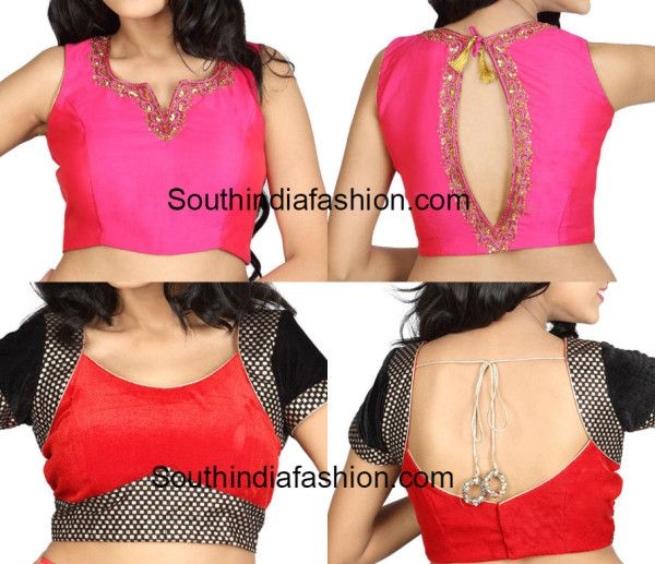 3d8d368055b1e2 A few latest saree blouse back and front neck patterns