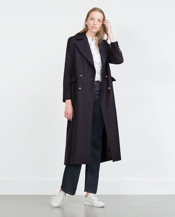 Manteau long laine femme zara