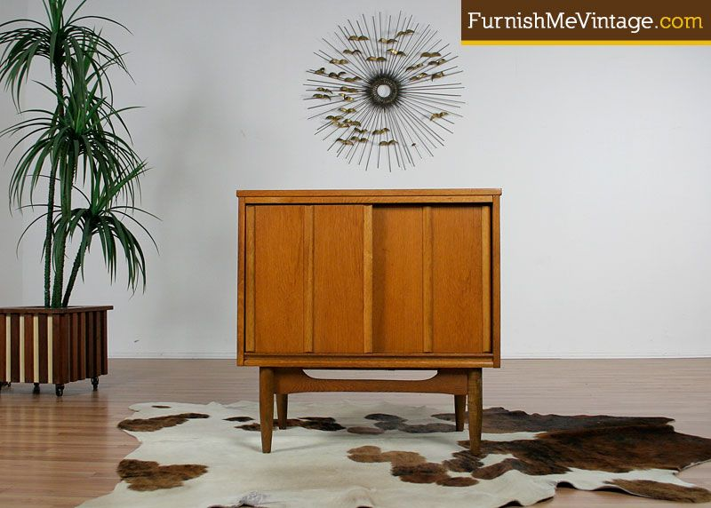 Small Mid Century Modern Sliding Door Cabinet For The Home