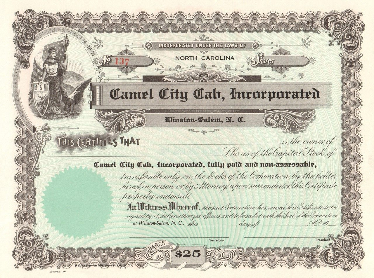 Winston Salem Cab >> Pin On Old Stock Certificates