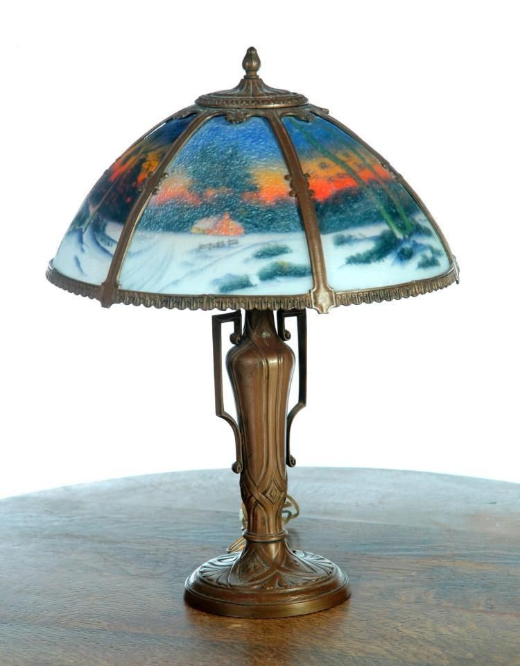 Unusual wintery scene reverse painted table lamp lot 1134 ebay antique lamps ebay mozeypictures Choice Image