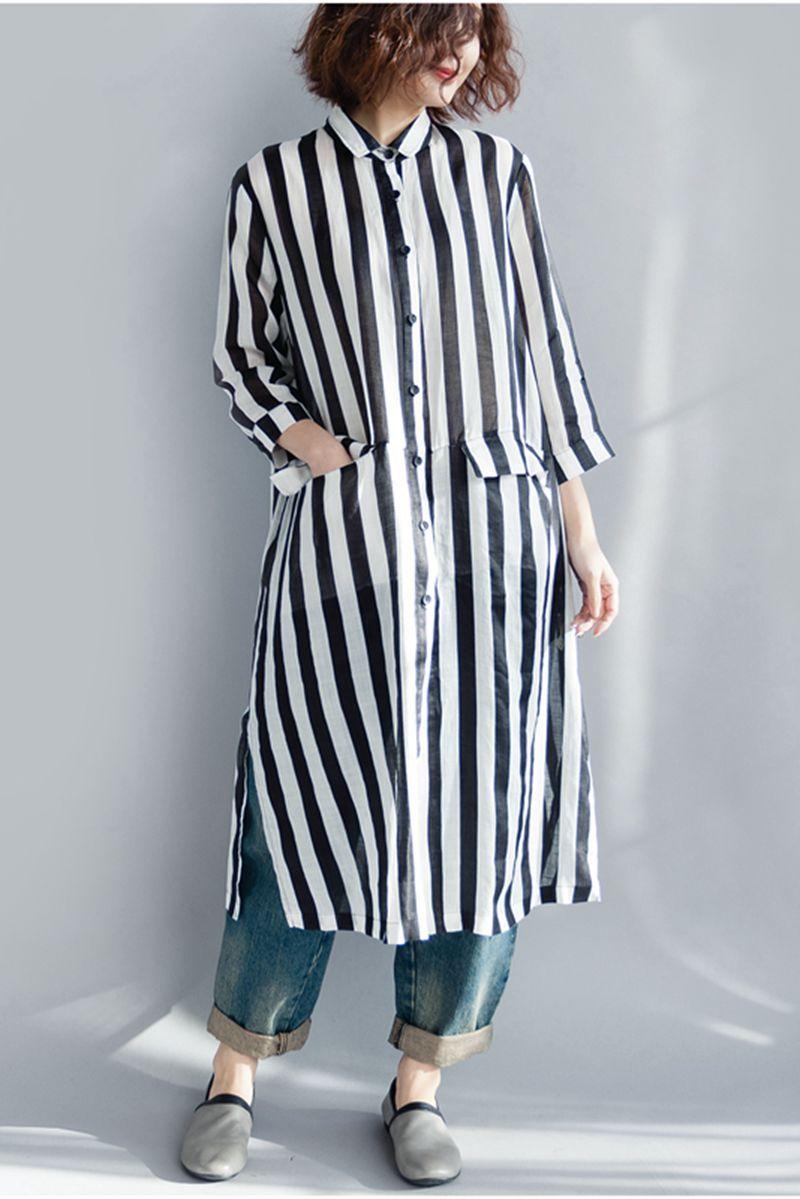 Black And White Striped Long Shirt Dress For Women Q1643 Id Wear