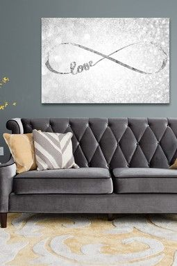 Oliver Gal Exclusive Sparkle Love Silver Canvas Wall Art