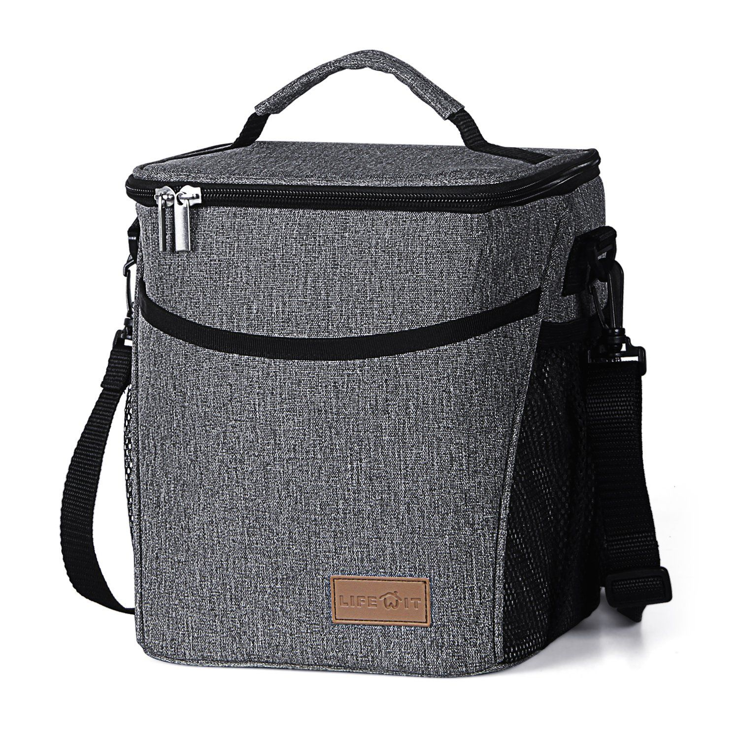 Lifewit Insulated Lunch Box for Men & Women & Kids, Thermal Bento Bag, Cooler Large Camping Box, Picnic Container with Adjustable Shoulder Strap, 9L, Grey