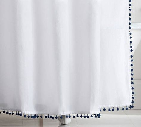 white cotton extra long shower curtain