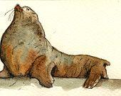 "Lion seal male swim ice ocean sea sand beach animal 8x4"" 21x9.5 cm art original Watercolor painting by Juan bosco"