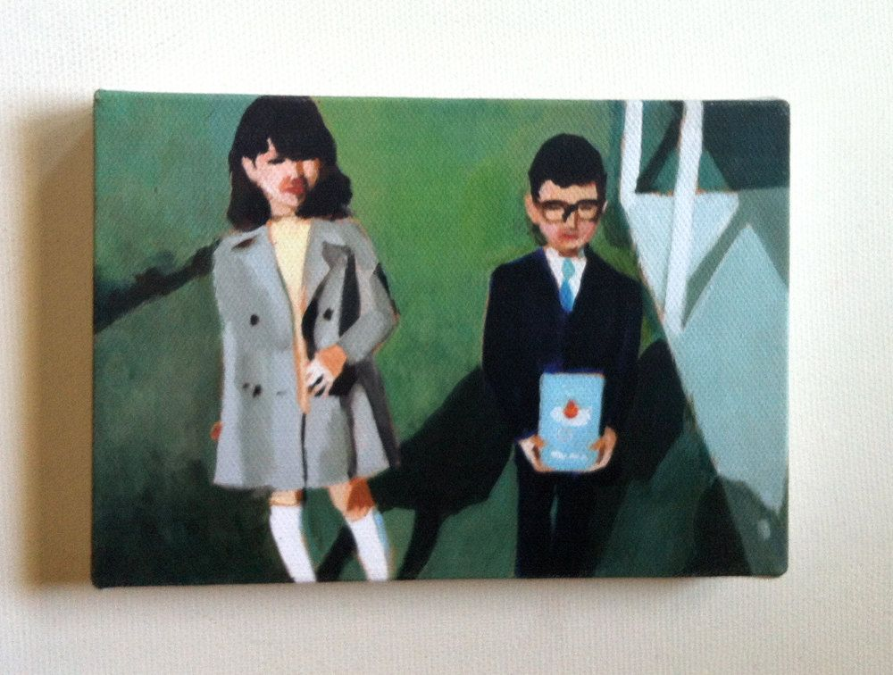 School / Tiny canvas print / Kids Illustration / Printed art / Green background / Home design / Glasses / Couple / retro / Tie / Dress. $20.00, via Etsy.