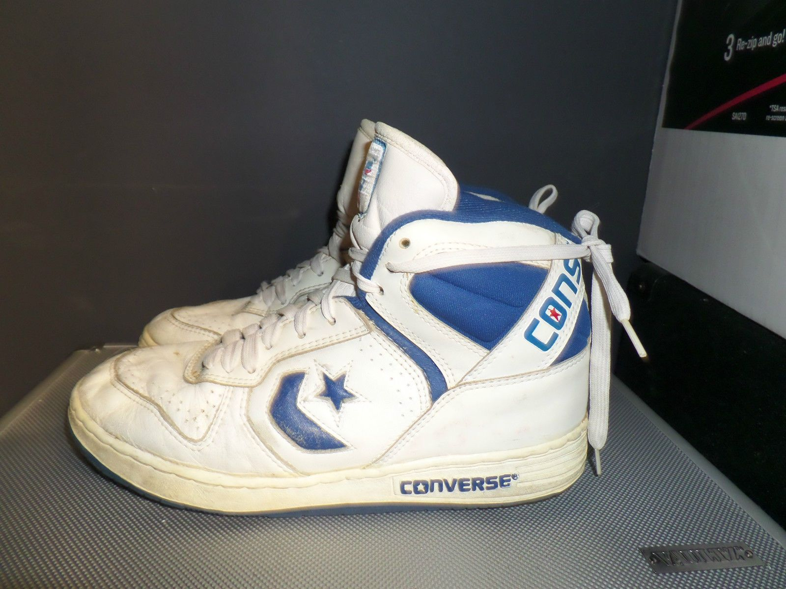 High tops · Converse Shoes Vintage Deadstock Cons 8 Leather White Royal  Blue 80s Size 8 5 | eBay