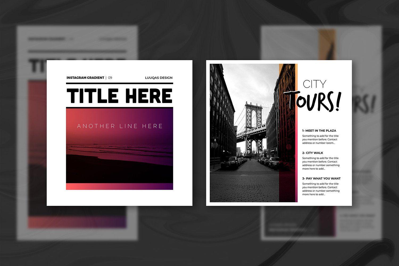 Gradient Social Media Pack By Luuqas Design On Creativemarket In 2020 Social Media Pack Instagram Template Social Media