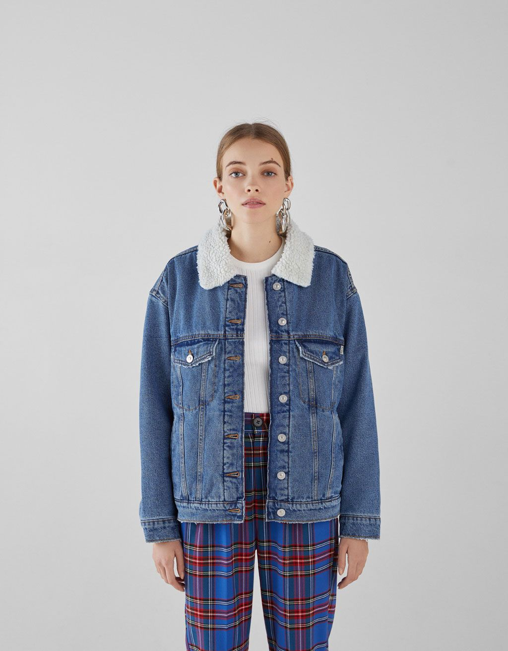 915518cc5230 Denim jacket with faux shearling lining. Discover this and many more items  in Bershka with new products every week
