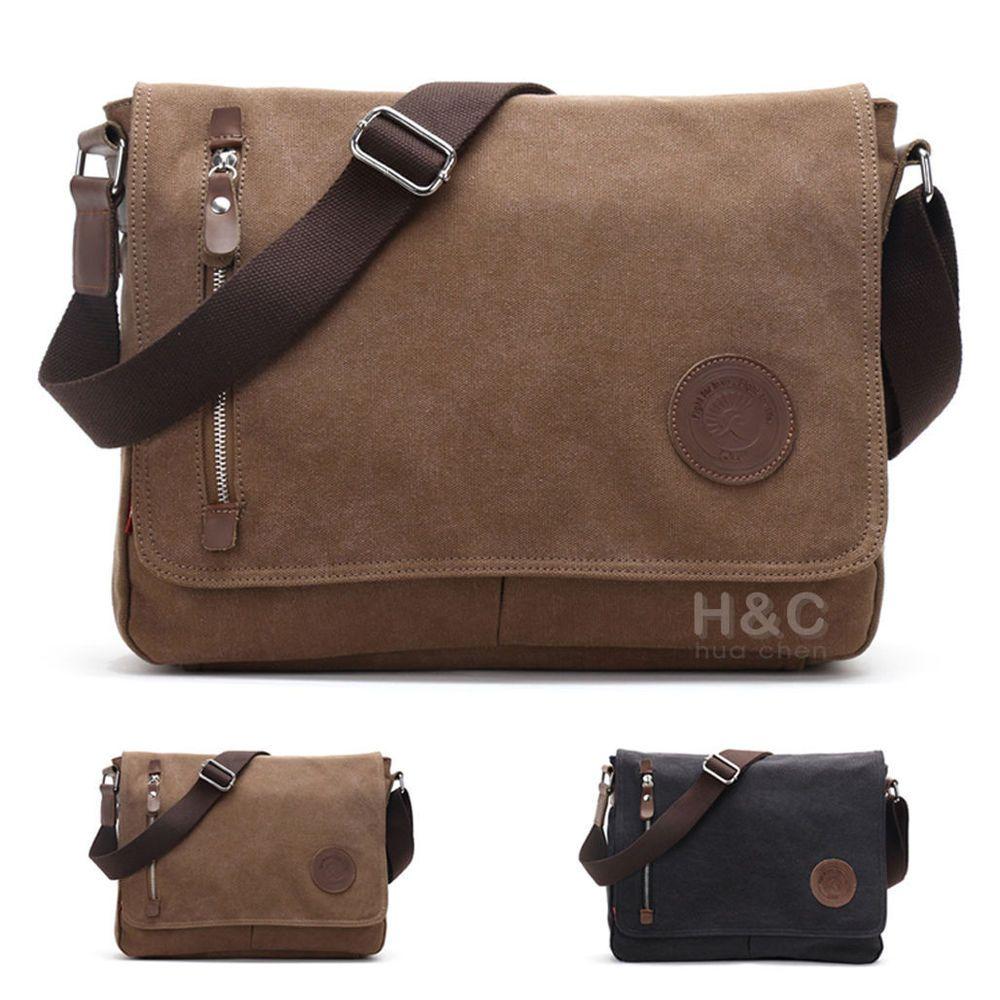 e701f490558b Details about Men's Vintage Canvas Schoolbag Satchel Shoulder ...