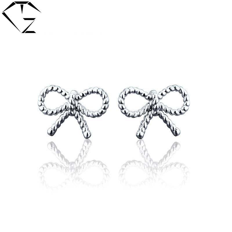 Ladies Wedding Party Solid 925 Sterling Silver Zircon Bowknot Ear Stud Earrings