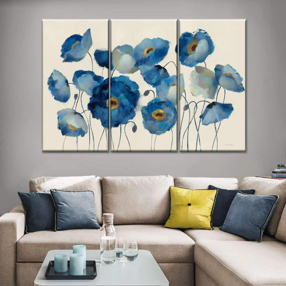 Aquamarine Floral On Cream Multi Panel Canvas Wall Art In 2021 Canvas Wall Art Abstract Canvas Wall Art Wall Canvas