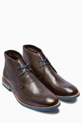 Brown with Blue Sole Leather Chukka Boot