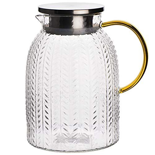 Warm Crystal The Glass Water Pitcher With Lid And Handle Glass