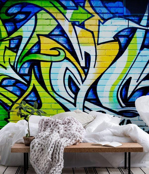 Blue Green Graffiti Wall Mural Graffiti Wall Murals Pinterest