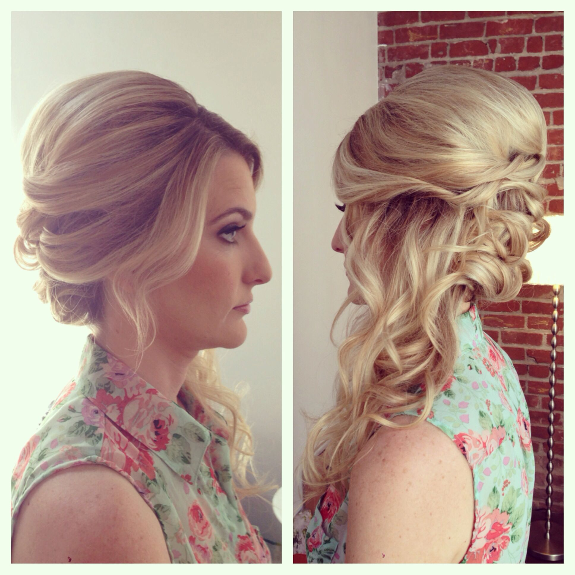 side swept updo, side swept hair, curls, wedding hair