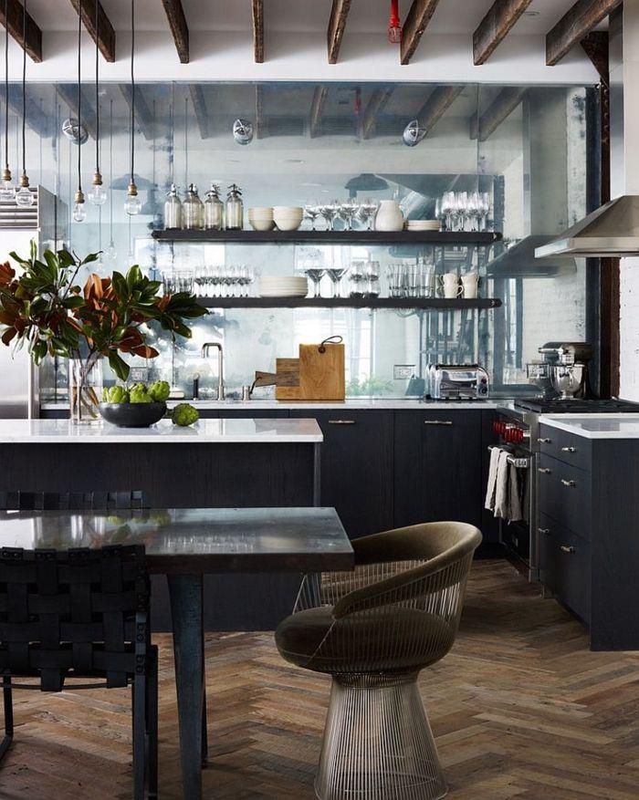 kücheneinrichtung küche esszimmer industrieller look offene regale - küche mit esszimmer