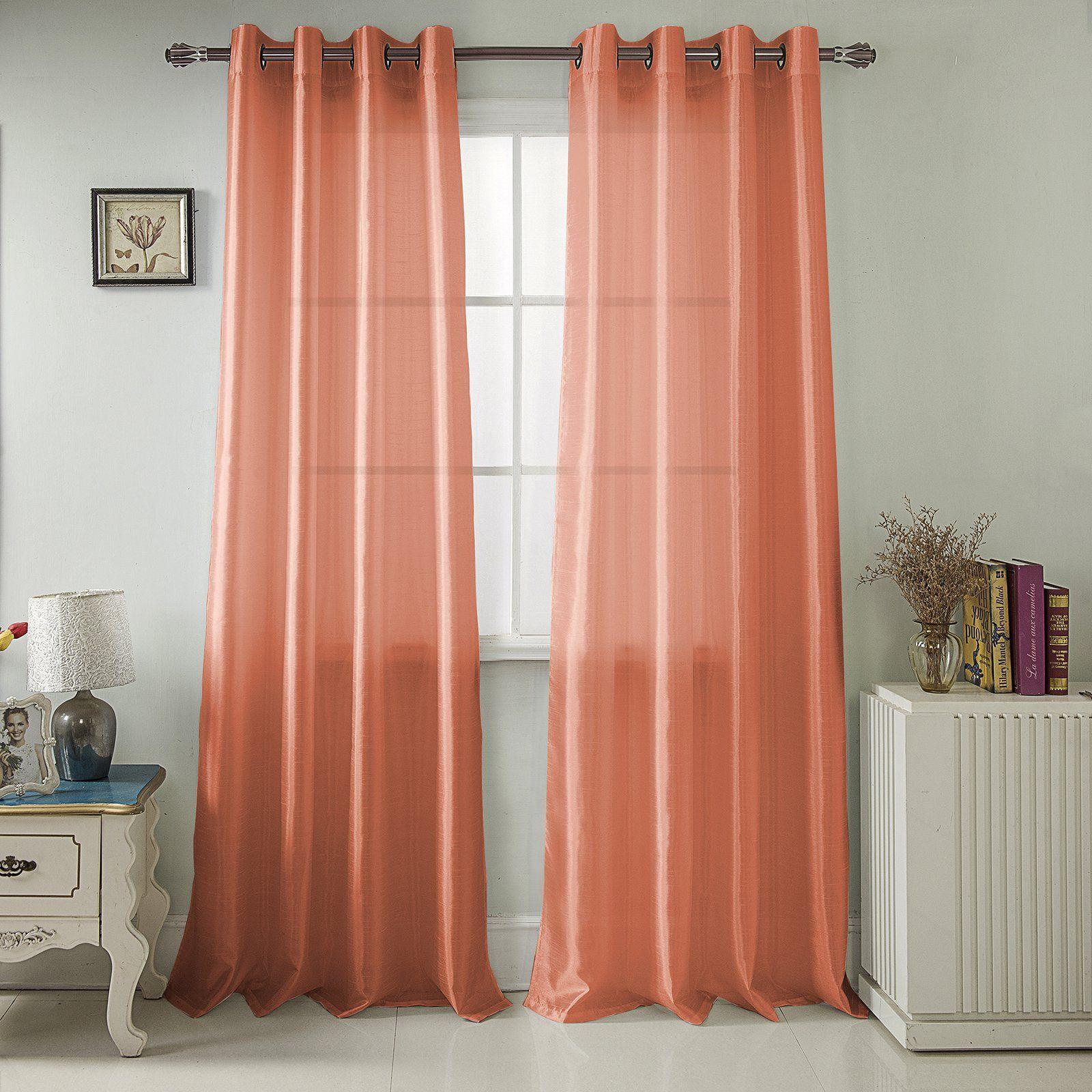 Rt Designers Collection Nancy Faux Silk Grommet Curtain Panel
