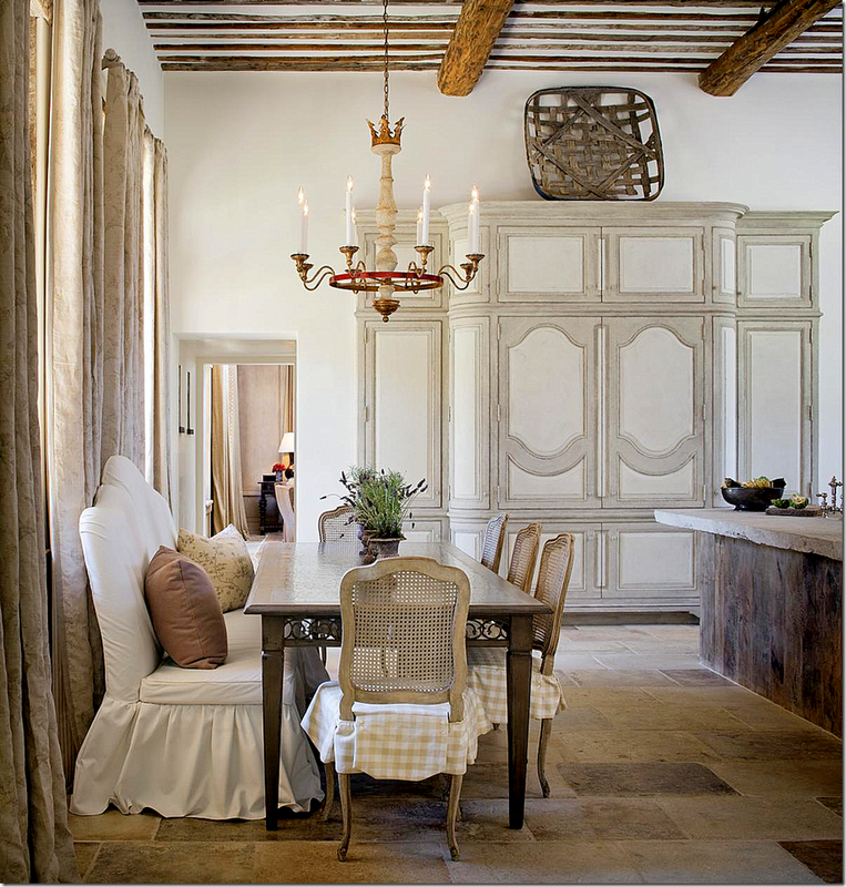 20 Country French Inspired Dining Room Ideas: Breakfast Nooks: Kitchen Bench Seats / Banquettes