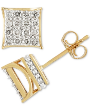 7220f0ff4 Men's Diamond Square Cluster Stud Earrings (1/2 ct. t.w.) in 10k Gold -