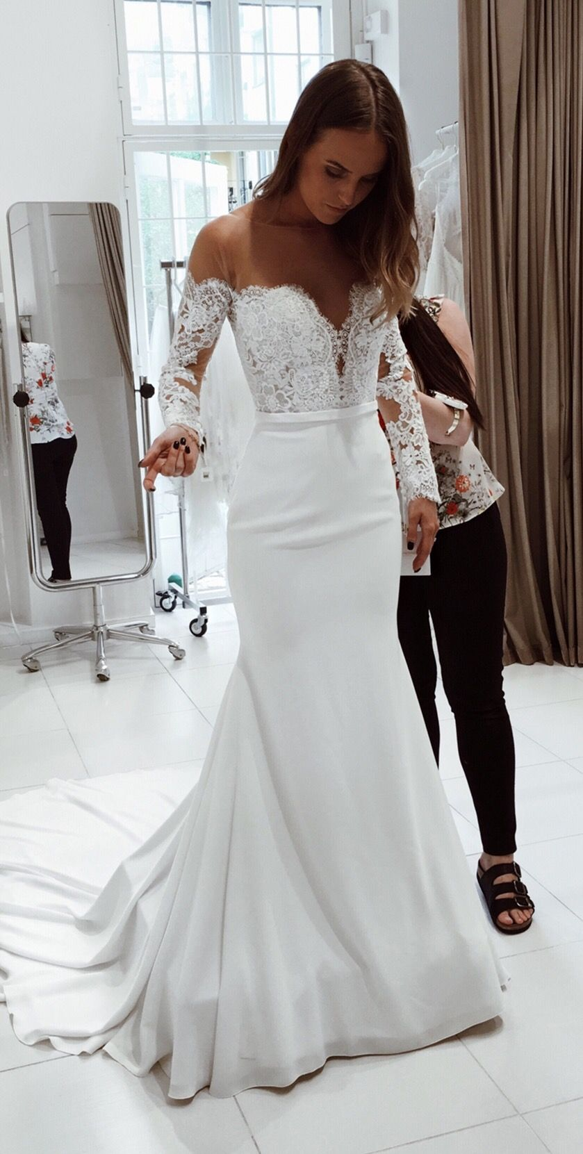 Modest long sleeve wedding gown  Mermaid Round Neck Long Sleeves Wedding Dress with Lace  Long