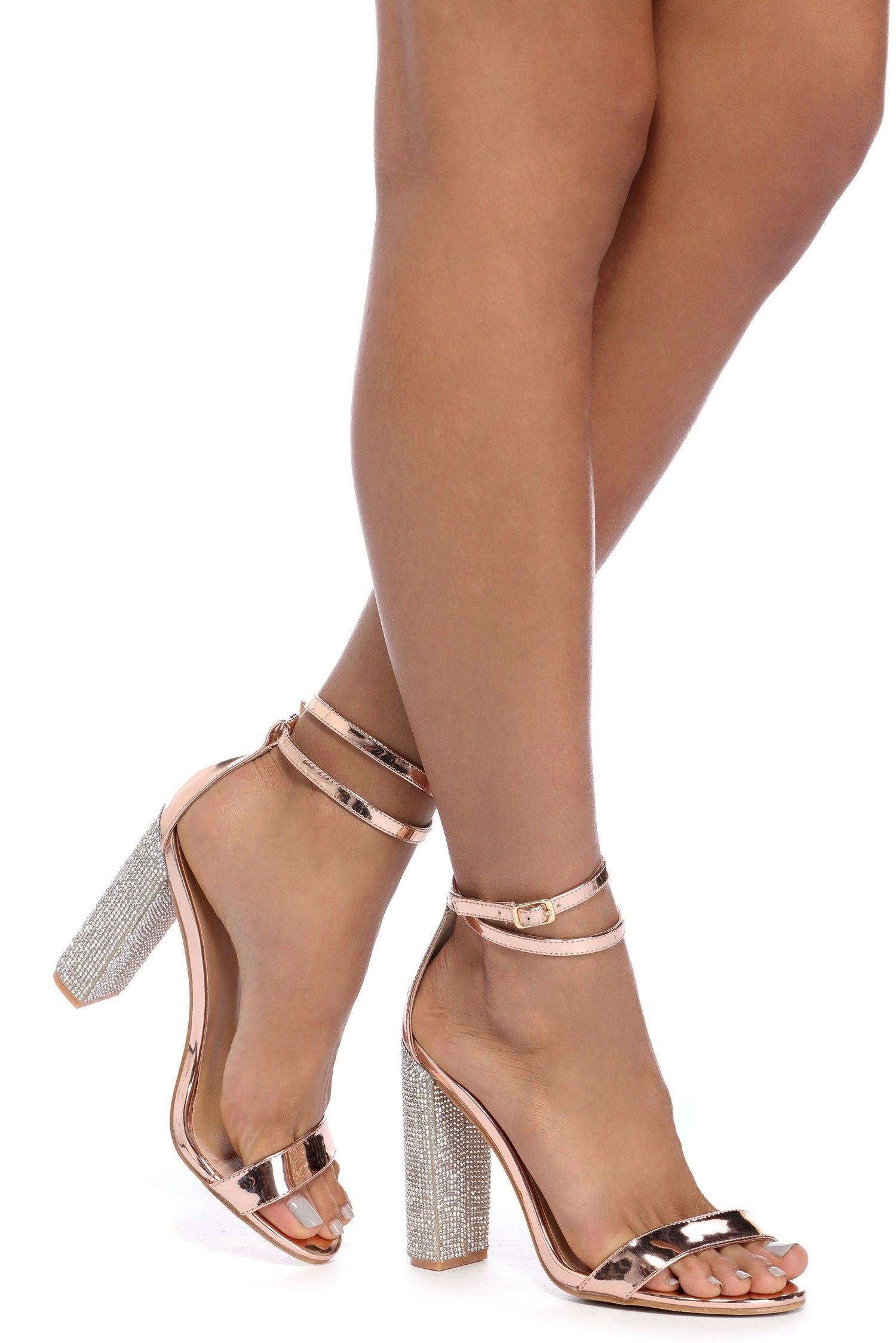 c2a2bb2ef58 Rose Gold Rhinestone Block Heels