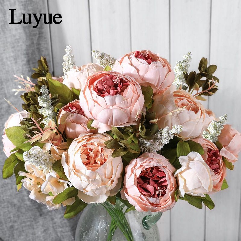 Cheap Peony Wedding Buy Quality Artificial Flowers Vintage Directly From China Artificial Fl In 2020 Artificial Flower Bouquet Artificial Flowers Wedding Fake Flowers