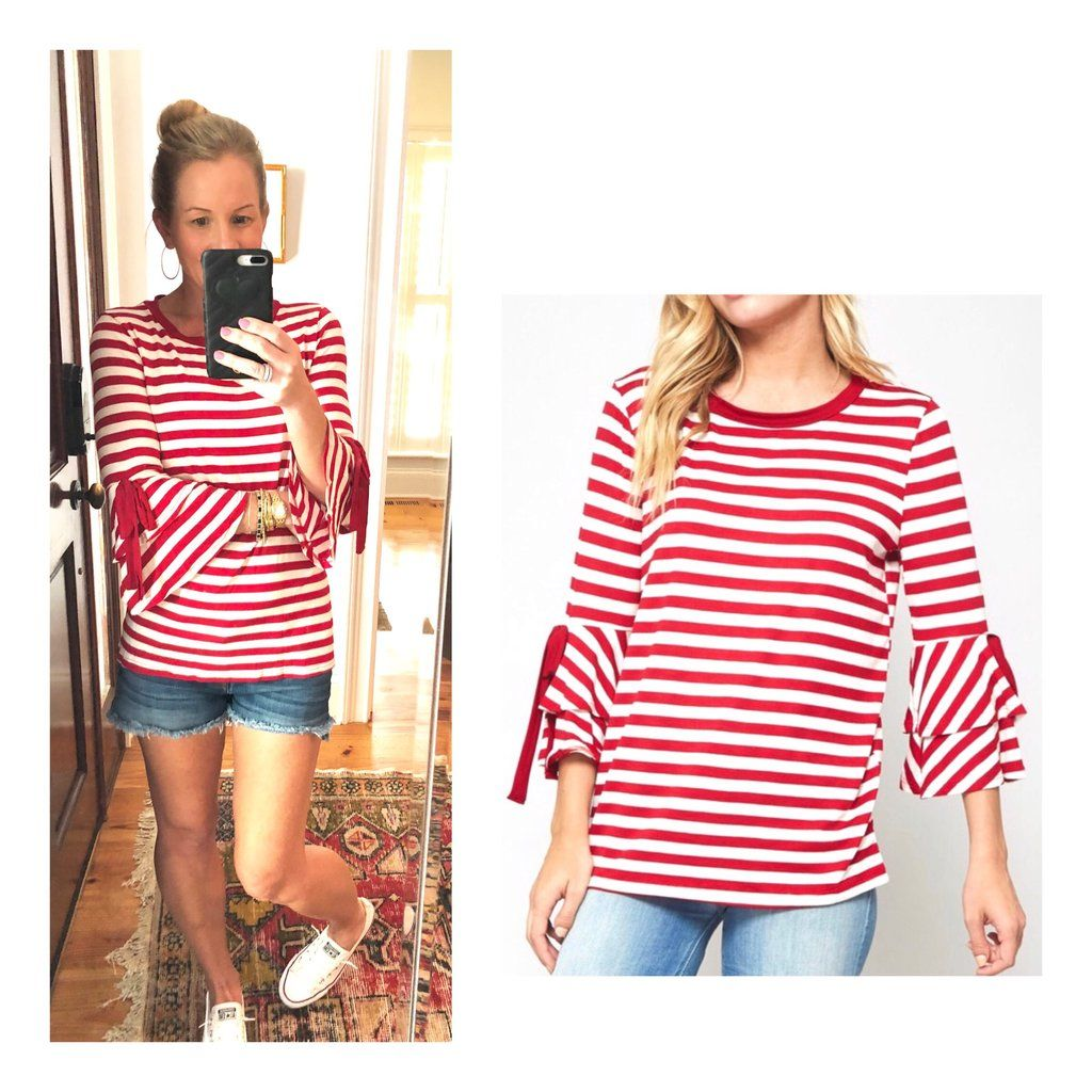 9b8e09f89fdb82 Red White Stripe Layered Bell Sleeve Top with Sleeve Ties | Tops ...