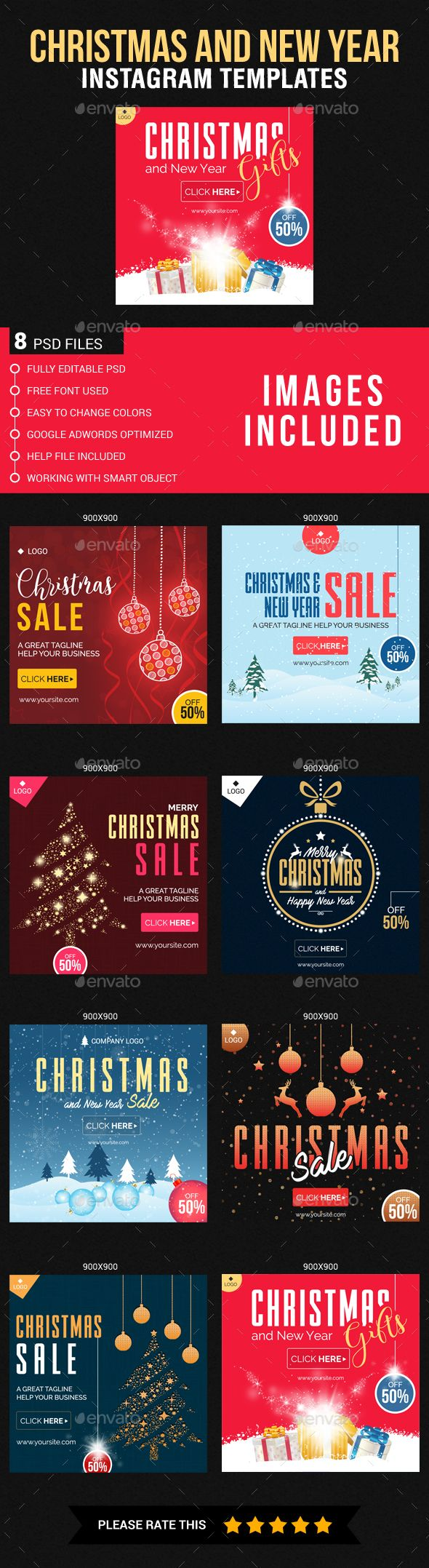 Christmas And New Year Instagram Templates Instagram Template Instagram Banner Christmas And New Year