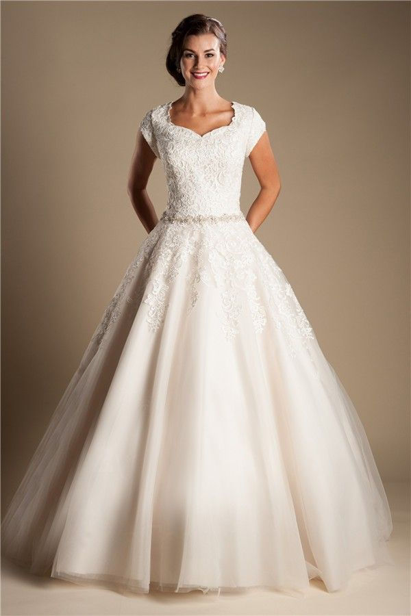 Modest Ball Gown Cap Sleeve Lace Tulle Wedding Dress With Buttons ...