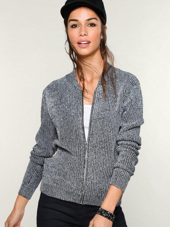 9e26cdddb1fe Chaqueta punto tricot perlado hilos metalizados | Products | Hooded ...