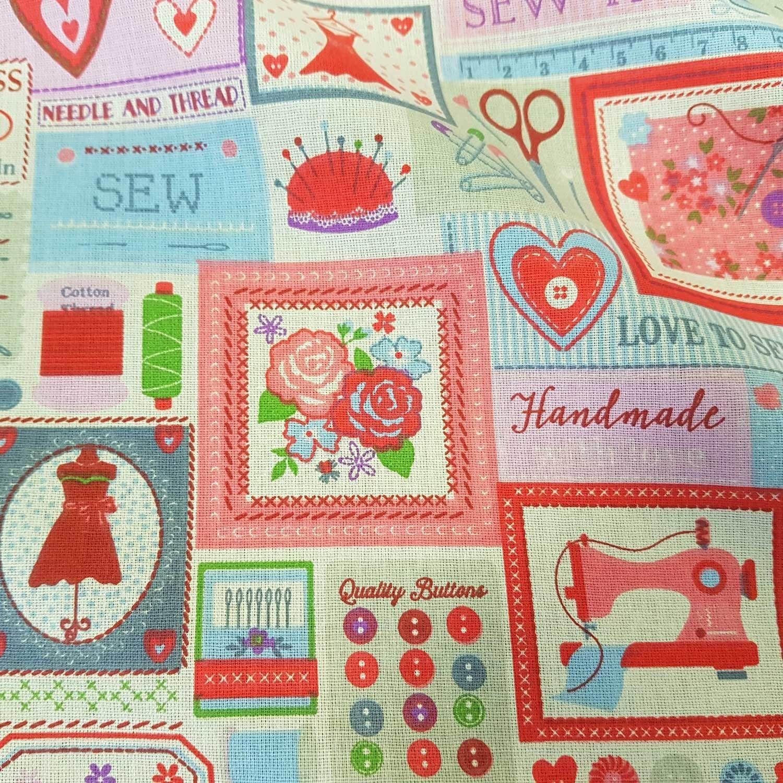 Cloth Fabric Cotton Pink Patchwork Sewing Machine Scissors Stoff Meterware Patchwork Stoffe