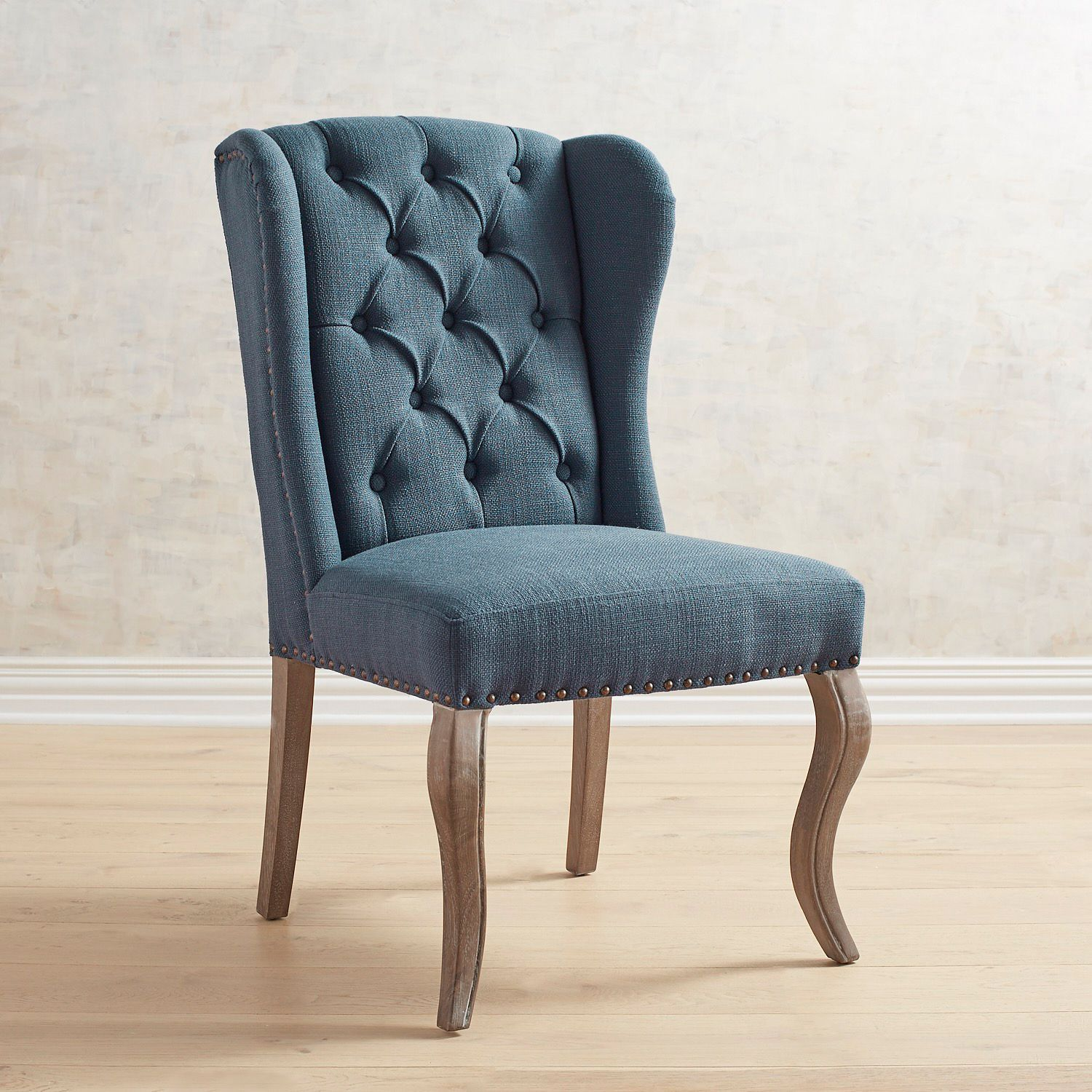 Jamison Navy Wingback Dining Chair with Cafe Legs