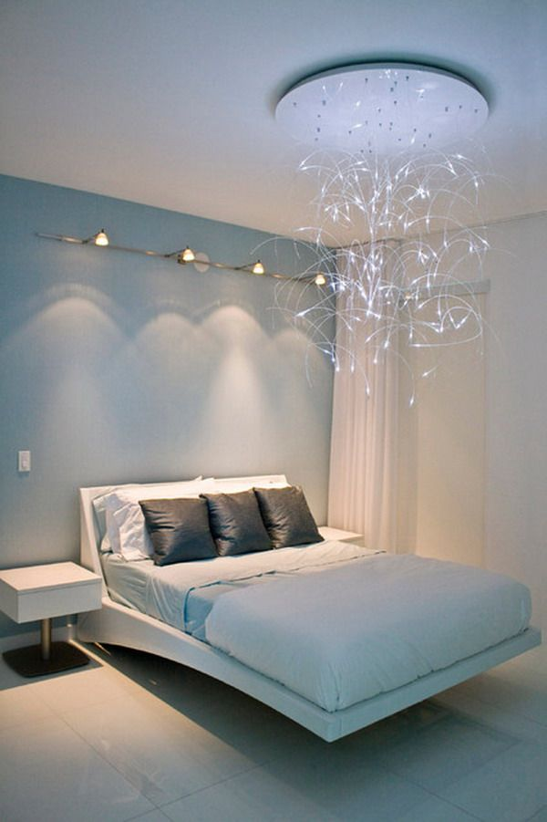 Contemporary Bedroom Design With Led Chandelier And Wall Tech Lighting