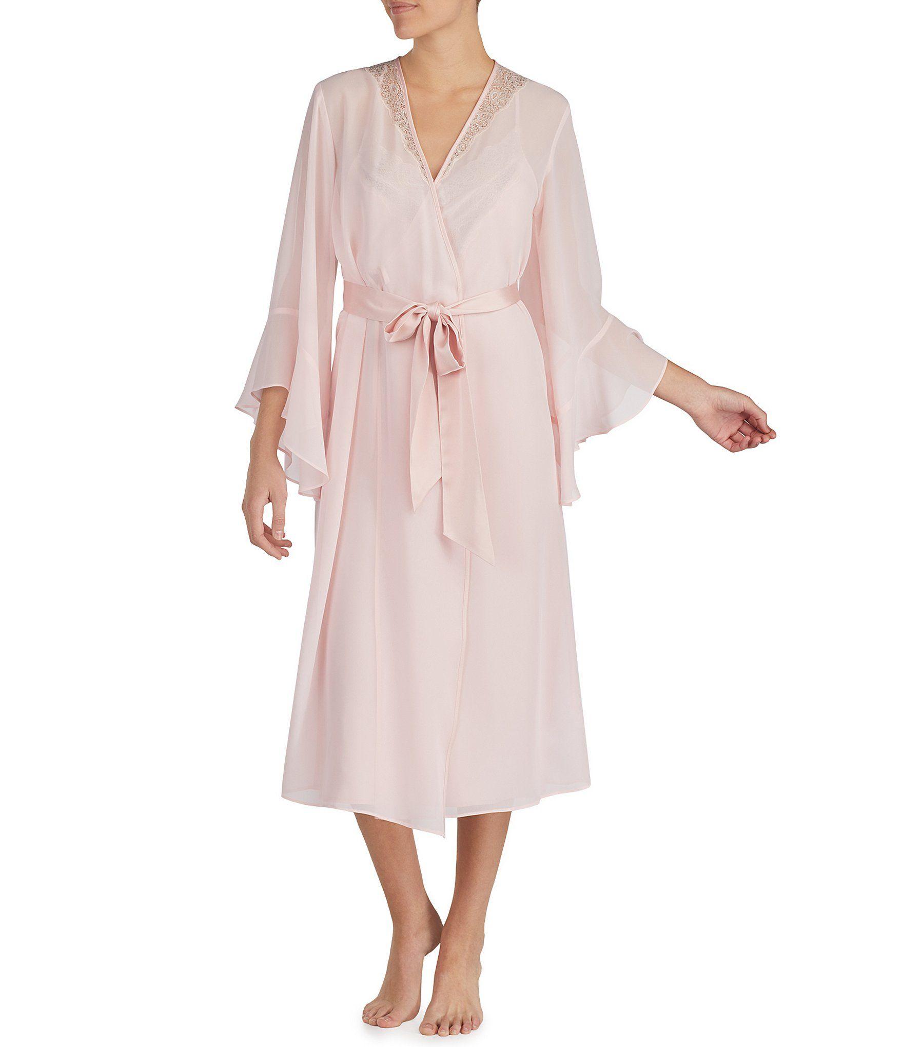 e2b6ad3c907 H Halston Chiffon and Lace Long Wrap Robe  Dillards