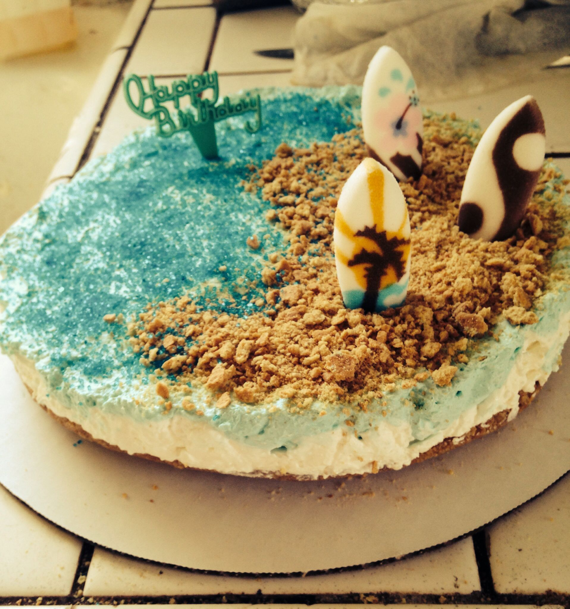 Beach Themed No Bake Birthday Cheesecake!
