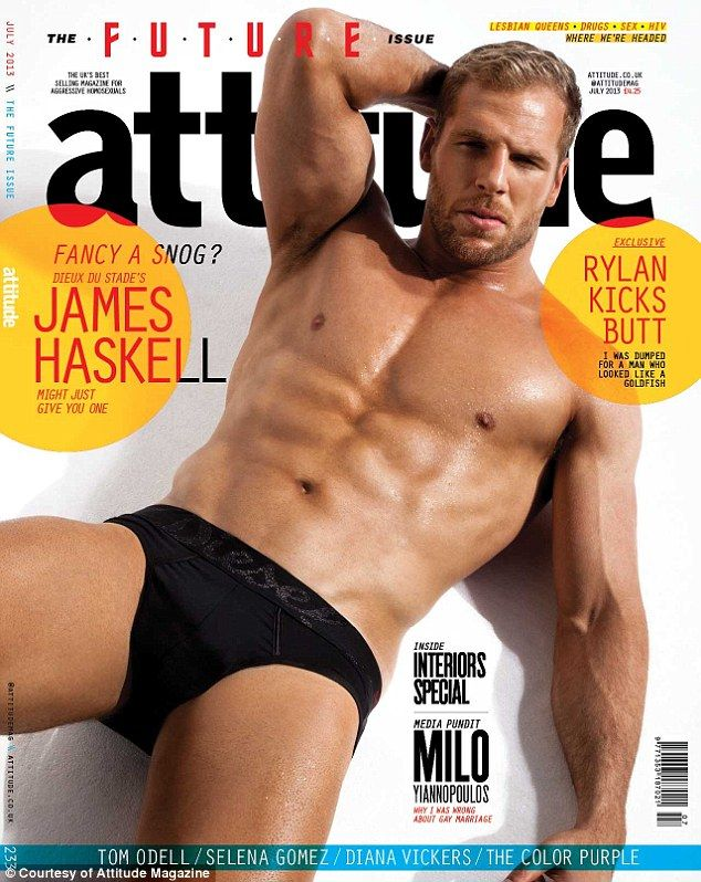 Cover star: James Haskell has posed on the front of leading gay magazine Attitude