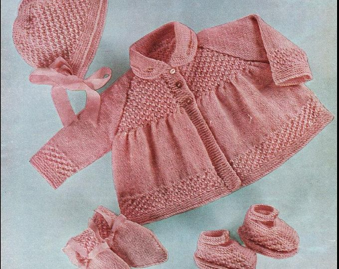 Baby KNITTING PATTERN for Matinee coat/jacket, bonnet and booties ...