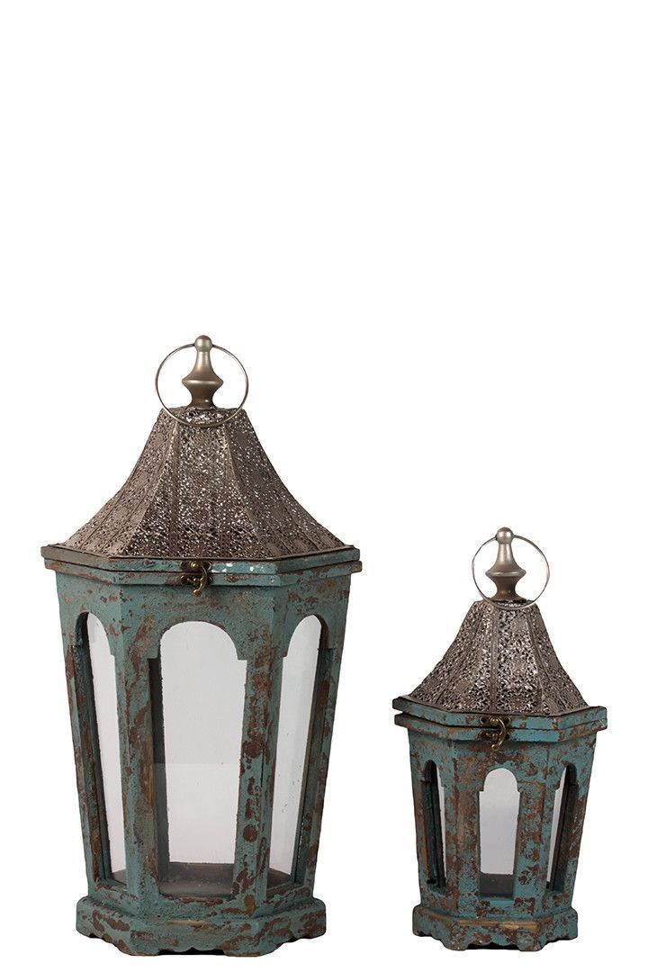 Classic Lamp Post Design Wooden Lantern Set Of Two In Antique Blue Finish