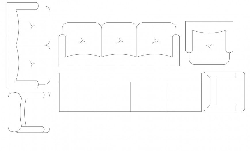 Drawing Room Furniture Blocks Top View Elevation Cad Drawing Details