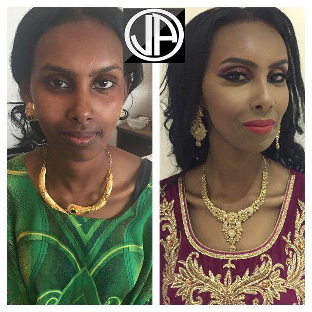 Makeover..Dark Skin Contouring Makeup Bridal Pink Lips Pink Smokey Eyes Arabic Makeup
